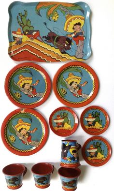 "Vintage 1942 Ohio Art Tin Litho Toy Tea Set B H K Benjamin ""Mexican Boy Bull"" | eBay"