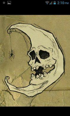Spooky moon halloween skull spider