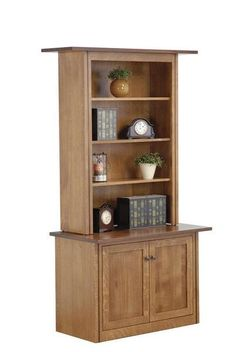 Amish Weiss Bookcase Shelf space and cabinet space to store and display with. Fine solid wood bookcase for home office, den or library. Choose wood, finish and hardware.