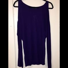 Cold Shoulder Top New with tag! Dark purple. Cut out shoulders. Long sleeves. 100% rayon. Comfy fit! Express Tops