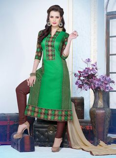 Chanderi Cotton Border Work Green Semi Stitched Straight Suit #partywear #salwar #georgette   #anarkali #designer #suits #georgette