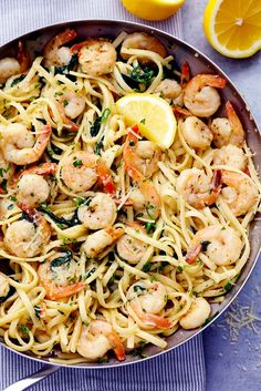 """Lemon Garlic Parmesan Shrimp Pasta is made in just one pot and ready in 30 minutes! Fresh shrimp gets cooked in a buttery lemon garlic sauce and gets tossed in fresh parmesan cheese and pasta. It will become a new favorite!  <a href=""""http://therecipecritic.com/2016/08/lemon-garlic-parmesan-shrimp-pasta/""""><em><strong>Get the recipe here!</strong></em></a>"""