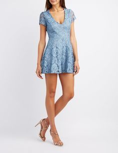 Floral Lace V-Neck Romper   Charlotte Russe $30.99 on 4/10/17 (buy one, get one for $10)