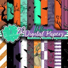 Halloween must, digital papers designs fabrics planner colors glitter purple turquoise bat crow pumpkin handdrawn digital boo trick or treat