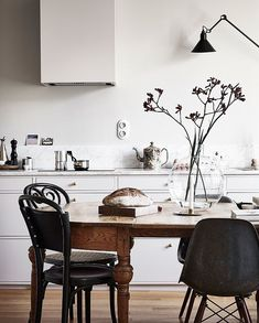 A perfect mixture of styles - via Coco Lapine Design Kitchen, ideas, diy, house, indoor, organization, home, design, cook, shelving, backsplash, oven, desk, decorating, bar, storage, table, interior, modern, life hack.