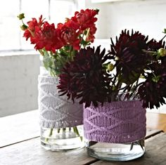 Tori — Melanie Porter  simple knitted covers for a straight sided glass vase. Combine two favorite interests!