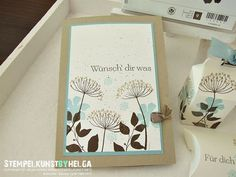 handmade card ... Summer Silhouettes ... luv this color combo of pale blue and several browns on vanilla cardstock ... Stampin' Up!