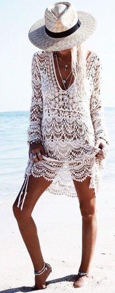 #summer #beach #outfits | White Crochet Dress