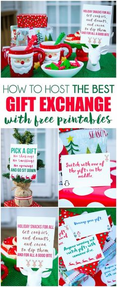 Seven great tips for hosting the best gift exchange! Everything from fun gift exchange themes to printable gift exchange games. I love the DIY gifts t. Gift Card Exchange, Christmas Gift Exchange Games, Xmas Games, Fun Gift Exchange Ideas, Holiday Games, Christmas Party Themes, Christmas Activities, Christmas Traditions, Company Christmas Party Ideas