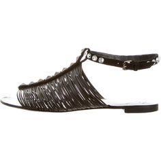 Pre-owned Giuseppe Zanotti Leather Multistrap Sandals ($195) ❤ liked on Polyvore featuring shoes, sandals, black, strappy sandals, leather sandals, strap sandals, black strap sandals and giuseppe zanotti sandals
