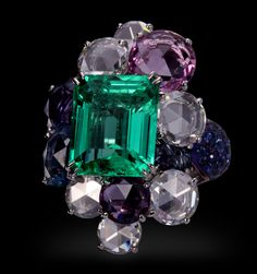 "Carnet by Michelle Ong, ""Emerald Delight"" Emerald, white diamond and sapphire ring set in platinum"