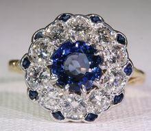 Stunning Vintage Sapphire and Diamond 'Princess Diana' Ring, 18k Gold and Platinum