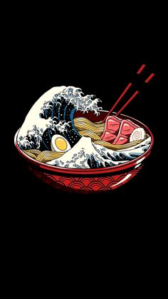 The big wave of ramen - My favorite - .- Die große Welle der Ramen – My favorite – … The great wave of ramen – My favorite – - Waves Wallpaper, Tumblr Wallpaper, Wallpaper Backgrounds, Food Wallpaper, Wallpaper Ideas, Custom Wallpaper, Black Wallpaper, Naruto Wallpaper, Kawaii Wallpaper