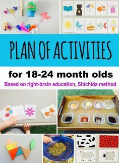 Plan of activities based on Shichida method of right-brain education - development on photographic memory, instant calculations and creative thinking. activities for toddlers. Source by and me activities Activities For One Year Olds, Toddler Learning Activities, Montessori Activities, Brain Activities, Infant Activities, 18 Month Activities, Creative Activities For Toddlers, Educational Crafts For Toddlers, Cognitive Activities