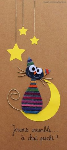Jouons à chat perché ! I'd modify it a bit though Felt Crafts, Diy And Crafts, Crafts For Kids, Arts And Crafts, Paper Crafts, Cat Cards, Kids Cards, Diy Y Manualidades, Animal Cards