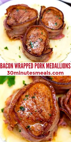 Bacon Wrapped Pork Medallions is a dinner showstopper featuring flavorful tenderloin slices encased in crispy, caramelized bacon. #pork #porkrecipes #porktenderloin #porkmedallions #30minutesmeals Pork Recipes For Dinner, Italian Dinner Recipes, Delicious Dinner Recipes, Lunch Recipes, Bacon Recipes, Yummy Recipes, Yummy Food, Oven Baked Bacon, Bacon Bacon