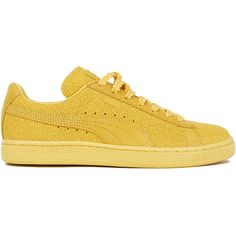 Puma X Solange Knowles Women's Classic Woven Sneakers - Gold Suede ($90) ❤ liked on Polyvore featuring shoes, sneakers, puma, gold, suede sneakers, braided shoes, suede leather shoes, woven sneakers and yellow gold shoes