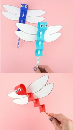 DRAGONFLY CRAFT TEMPLATE -EASY PAPER CRAFT FOR KIDS! Paper Crafts Origami, Paper Crafts For Kids, Easy Crafts For Kids, Toddler Crafts, Creative Crafts, Preschool Crafts, Fun Crafts, Art For Kids, Craft Kids