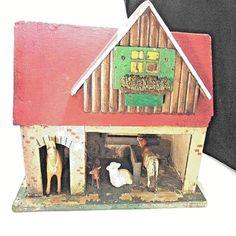 ANTIQUE GERMAN GOTTSCHALK DIORAMA DOLL HOUSE LOG WOOD 4 FARM ANIMAL ELASTOLIN TO
