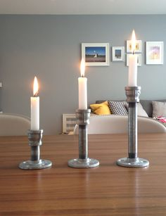 Modern Industrial Pipe Candle Holders (Set of 3) Modern Loft Style. $30.00, via Etsy.