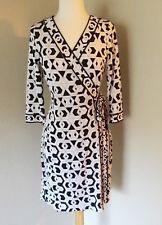 Diane von Furstenberg Banded Julian wrap dress size 10 black white silk