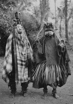Africa | Ibo Masquerades. Nigeria.  1931. | Isuama Ibo. Isu tribe. 'Okorosie' masquerade. Masks called 'Nwanyioma' and 'Akatakpuru' | ©Dr. G.I.Jones