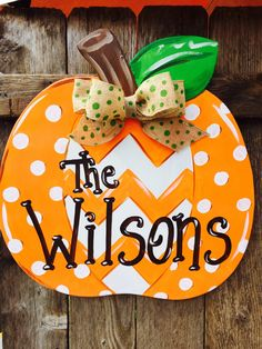 Chevron and Polka Dot Patch Pumpkin Wooden Hand Painted Door Hanger by Earthlizard on Etsy https://www.etsy.com/listing/479525445/chevron-and-polka-dot-patch-pumpkin