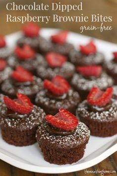 Chocolate Dipped Raspberry Brownie Bites (GF, DF option) - The Nourishing Home