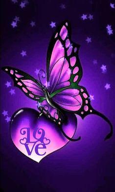 New Butterfly Tattoo Color Purple Ideas Heart Wallpaper, Purple Wallpaper, Butterfly Wallpaper, Love Wallpaper, Cellphone Wallpaper, Galaxy Wallpaper, Wallpaper Backgrounds, Butterfly Painting, Butterfly Flowers