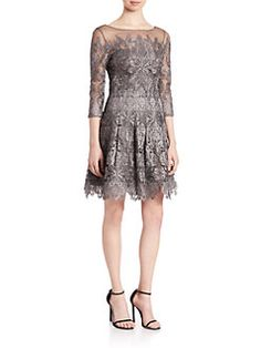 Kay Unger - Lace Fit-&-Flare Dress