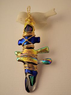 Glass fusion fish bone pendant with dicrohitic by LikeYourJunk, $35.00