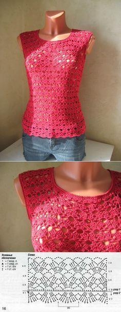 Blusa crochet calada, con patrón de punto