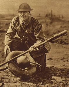 British soldier with captured German flamethrower. Find our speedloader now! http://www.amazon.com/shops/raeind