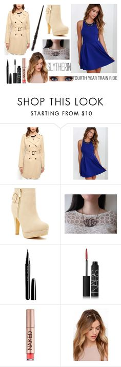 """""""Fourth Year- Train Ride"""" by percabeth-lover2 ❤ liked on Polyvore featuring LULUS, Top Guy, Marc Jacobs, NARS Cosmetics, Urban Decay and Emma Watson"""