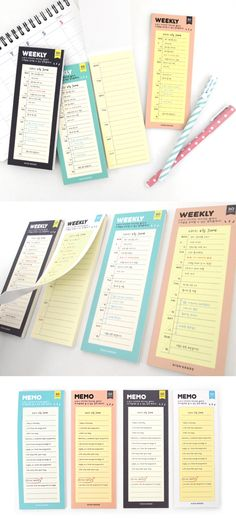 Write your weekly plans and memos on the Long Schedule Sticky Note and place them on conspicuous places! You can check your schedules and important things soooo easily and conveniently!
