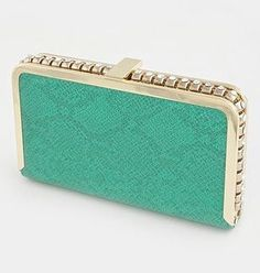 Crystal Stud Hand Clutch Mint