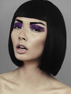 'Speckled' - model: Alice Ma - photographer: Alex Evans - hair & make-up: Natalie Ventola - Chloe Magazine Spring14 M.A.C. Chromacake in Rich Purple (eyes)