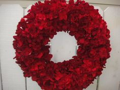 Red Hydrangea Wreath   Holiday Wreath   Christmas by donnahubbard