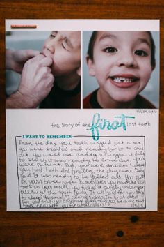 The Story of the First Lost Tooth at Ali Edwards