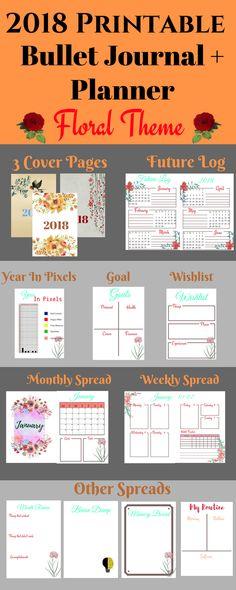 Printable Bullet Journal | Bullet Journal Prints | 2018 Planner | 2018 Bullet Journal | Future log | year in pixels | yearly spread | monthly spread | weekly spread | monthly review