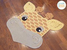 Crochet padrão PDF por IraRott para fazer um tapete de girafa adorável ou tapete área safari