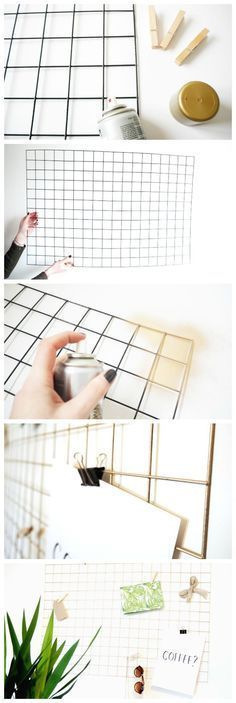 How To Make a DIY Gold Wire Memo Board. I'd be happy keeping it black.How To Make a DIY Gold Wire Memo Board. I'd be happy keeping it black. Memo Boards, Wire Memo Board, Cork Boards, Wall Boards, Diy Cork Board, Gold Diy, Diy Ouro, Home Projects, Craft Projects