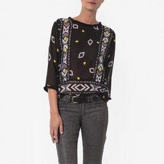Blouse imprimée ethno, Tops et blouses