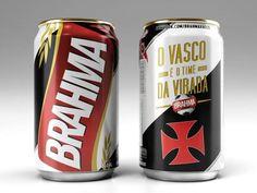"""Cerveja Brahma com as embalagens que representam a """"voz das arquibancadas"""", com frases e gritos de guerra conhecidos das torcidas de Botafogo, Flamengo, Fluminense e Vasco da Gama."""