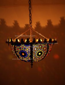 Bowl Shaped Brass Chandelier with Multicolor Glass - Imported from Morocco - CH008