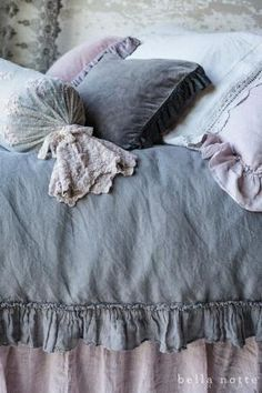French Grey and Powder lavender luxury bedding from Bella Notte Linens by oneginka