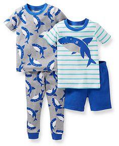 fa02569b7f Carter s Baby Boys  4-Piece Shark Pajamas Kids - Macy s
