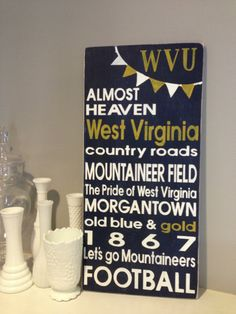 West Virginia WVU Distressed Decorative Sign on Etsy, $75.00