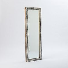 ORDERED  Parsons Floor Mirror - Gray Herringbone