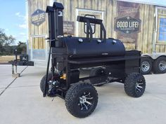 Designed and built by Gator Pit for The Good Life BBQ folks. Bbq Smoker Trailer, Bbq Pit Smoker, Bbq Grill, Barbecue, Custom Bbq Smokers, Custom Bbq Pits, Barbeque Design, Grill Design, Backyard Bbq Pit